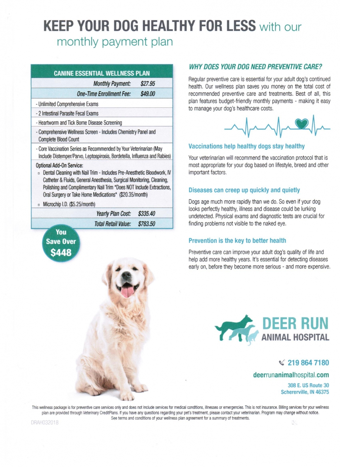 Monthly payment plan for healthy dogs
